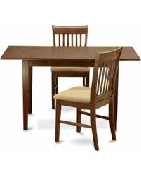 East West Furniture Norfolk 3 Piece Slat Back Dining Table Set