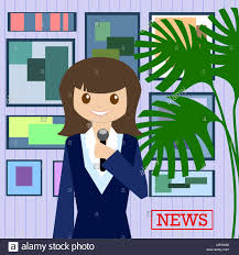 Woman Journalist With Microphone Is A News Service On The Background Of Paintings And Plants Flat Design Vector Illustration