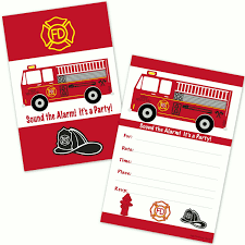 Amazon.com: Fire Truck Kids Birthday Party Invitations For Boys (20 ...