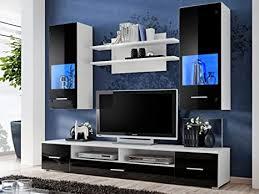 kryspol wohnwand reno anbauwand wohnzimmer set modern design weiß matt schwarz glanz