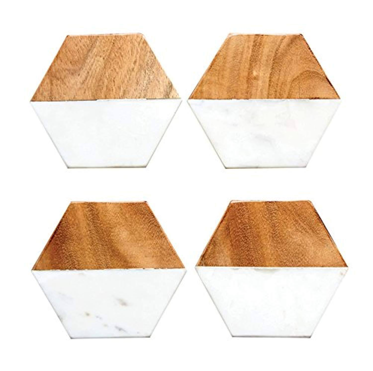 "Creative Co-Op Hexagon Marble and Wood Coaster Set - 4"", 4 Pieces"