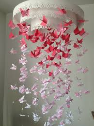 DIY Paper Lace Chandelier Butterfly Mobile Decoration Hanging Craft Crystal Beads