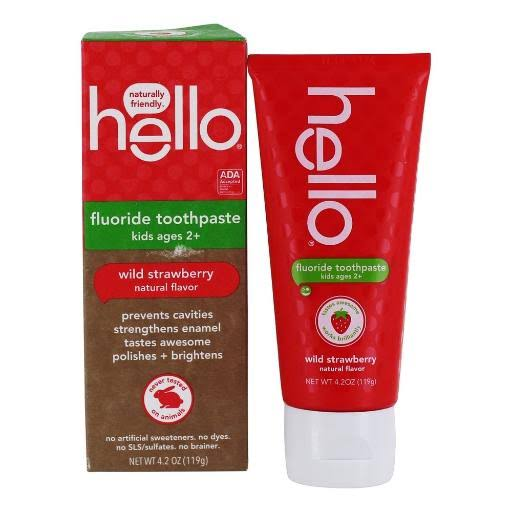 Hello Oral Care ADA Approved Fluoride Kids Toothpaste - Wild Strawberry, 4.2oz