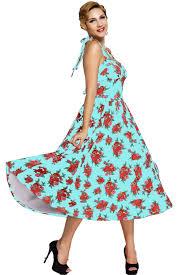women retro rose floral halter cannes swing dress stage dance wear