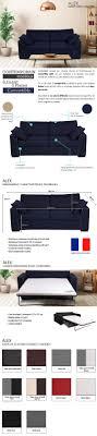 densit canap alex canapé droit convertible 3 places avec matelas bultex tissu