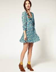 pepe jeans pepe jeans blossom print pleated dress in blue lyst