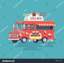 Vector Colorful Flat Sushi Truck Japanese Stock Vector (Royalty Free ...
