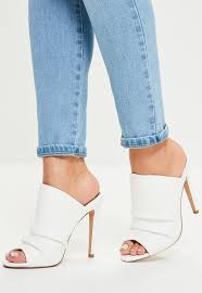 white ruched open toe heeled mules missguided