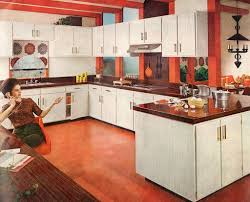 Inspiring Kitchen Decoration Using 1960s Cabinet Ideas Beautiful U Shape Red And White