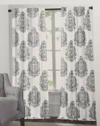 Nicole Miller Home Two Curtain Panels by New 2 Nicole Miller Damask Medallion Gray Ash White Window