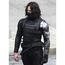 Captain America Civil War Bucky Barnes Sebastain Stain Leather Jacket