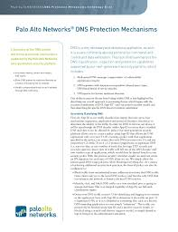 A summary of the DNS control and threat prevention mechanisms supported by the Palo Alto Networks