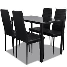 Kitchen Table Chairs Under 200 by Vidaxl Contemporary Dining Set With Table And 4 Chairs Black