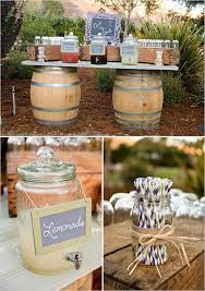 Outdoor Beverages Served On A Wine Barrell And Barn Wood Table Produce Crates Are Used