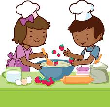 African Children Cooking In The Kitchen Vector Art Illustration