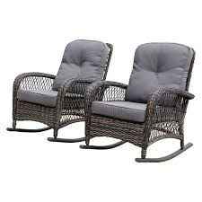 Shop Corvus Salerno Outdoor Wicker Rocking Chair With Cushions In ... Wicker Rocking Chair Grey At Home Windsor Black Rocker And End Table Set With Patio Resin Steel Frame Outdoor Porch Noble House Harmony With White 3pc Cushion Good Looking Glider Big Plans Sw Chairs Lounge Dark Brown Amazoncom Cloud Mountain 3 Piece Bistro Decorating Rockers Gliders Coral Coast Casco Bay