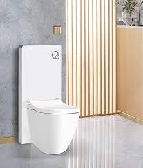 weißglas sanitärmodul für stand wc inkl betätigungsplatte