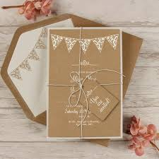 Handmade Summer Rustic White Bunting Wedding Day Invitation