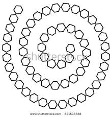 Abstract Futuristic Spiral Maze Pattern Template For Childrens Games White Hexagons Black Contour Isolated