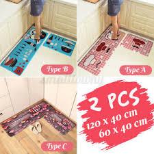 details zu 2pcs küchenläufer waschbar rutschfest teppichläufer läufer küche teppich