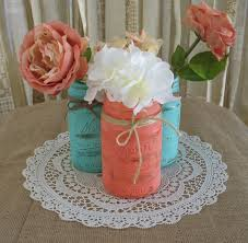 Coral Color Decorations For Wedding by Mason Jars Ball Jars Painted Mason Jars Flower Vases Rustic
