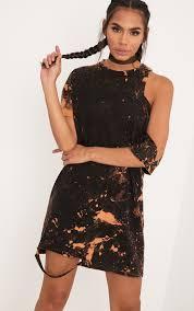 ranar black tie dye cut out t shirt dress dresses