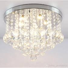 Round K9 Crystal Ceiling Light Droplights Silver Chrome Ceiling