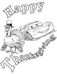 Disney Cars Turkey Thanksgiving Coloring Page