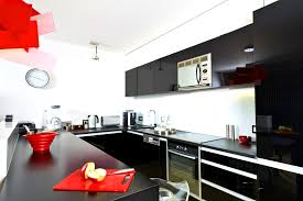 Black And Red Kitchen Designs Extraordinary Decor Modern White Wall Gloss Cabinetry With Aessories