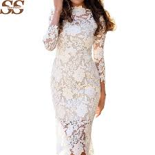 popular long sleeve lace white dress buy cheap long sleeve lace