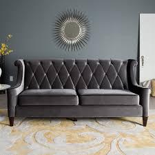 armen living barrister gray velvet sofa hayneedle