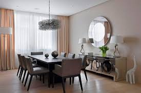 Living Room Dining Flat And Layered Circle Wall Mirror Idea Intended For