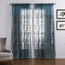 gwell luxus transparent vorhang gardine blumen druck voile schal mit quaste top qualität für wohnzimmer schlafzimmer 1er pack blau rosa