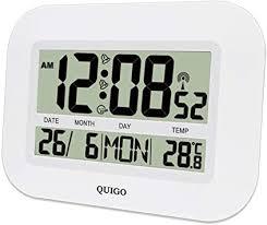 quigo wanduhr groß funk digital modern tischuhr küche wohnzimmer lautlos temperaturanzeige batteriebetrieben mehrere alarme weiß