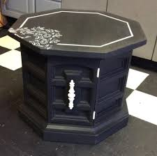 Unsanded Tile Grout Chalkboard by Vintage Octagon End Table Shabby White Painted Furniture Waverly