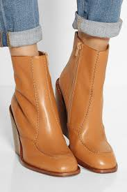 see by chloé leather wedge ankle boots in brown lyst