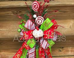 Present Christmas Tree Topper Cupcake Candy Cane And Lime Green Bow Chevron Decoration Holiday Decor Wreath Home