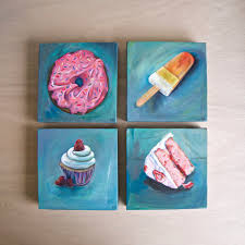 Strawberry Sprinkle Donut Orange Popsicle Angel Coconut Cake Slice Frosted Cupcake Original Acrylic Painting on Canvas