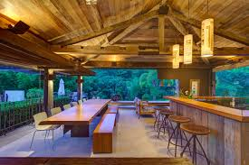 Modern Outdoor Table Lights And Wooden Dining Lighting Bar Charming Rustic House In
