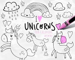 Unicorn Clipart Vector Set For Coloring INSTANT DOWNLOAD Party Cute Sheet Page