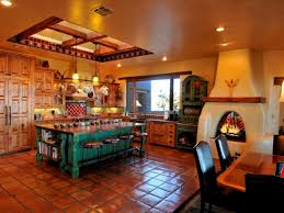 Kitchen Impressive Mexican Theme With Brown Flooring And Fireplace Turquoise Island Wood Laminate