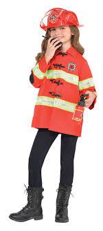 Firefighter Kit Kids Fancy Dress Fire Brigade Uniform Boys Girls ...