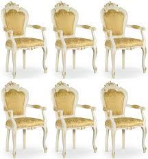 casa padrino luxus barock esszimmer stuhl set mit armlehnen gold weiß gold 58 x 50 x h 103 cm barock küchen stühle 6er set esszimmer möbel im