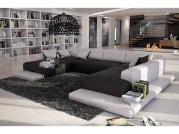 canape panoramique design canapé 7 places simili blanc gris ou noir blanc scosy