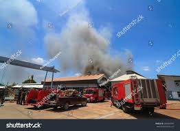 100 Black Fire Truck Burning Warehouses Smoke Stock Photo Edit Now