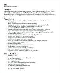 Top Rated Sample Resume For Restaurant Assistant Manager