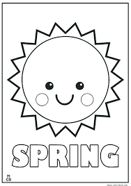 Springtime Coloring Pages Spring Free Printable Of Smiley Sun For Kids