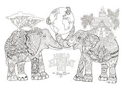 Wild Animals Coloring Pages For Kids Animal Page Unique World Elephant Day Elephants Adult