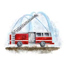 100 Fire Truck Wall Art Red Engine Print Boy Room Decor Tiny Toes Design