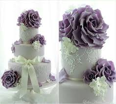 Lavender and lace wedding cake by Leslea Matsis Cakes